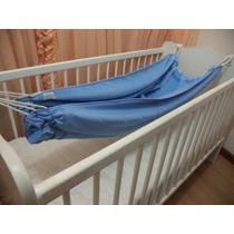 Rede Berço Em Plush Azul Bebê