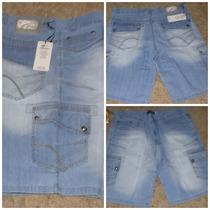 Bermuda Jeans Com Bolsos Laterais Tamanho 46 A 54