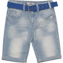 Bermuda Jeans Infantil Masculina Clara Com Cinto