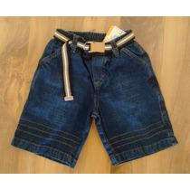 Bermuda Jeans Com Cinto Infantil Tam 8