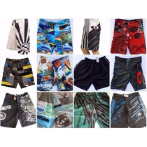 Kit Shorts Tactel 05 Peças Masculina Moda Praia + Brinde