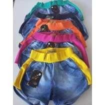 Kit Com 6 Lindos Shorts, Jeans Com Moleton Coloridos