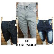 Jeans Masculino Bermuda Shorts Várias Marcas 03 Peças