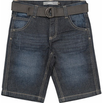 Bermuda Jeans Infantil Masculina Escura Com Cinto