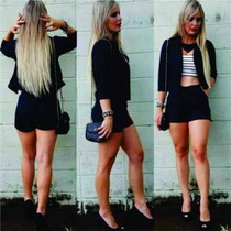 Terninho Blazer Conjunto Feminino Blazer E Shorts Top Preto