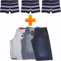 Kit Bermuda Jeans Masculino Lote 3 Unid + 10 Cuecas Boxer