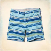 Bermuda Hollister Masculina Beach Prep Shorts - Green & B...