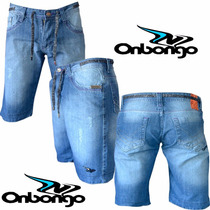 Bermuda Jeans Masculina Onbongo Escura Mesclada