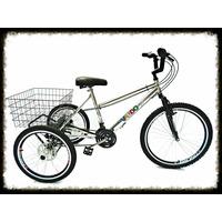 Bicicleta Triciclo Aro 26 De Alumínio - 21 Marchas - Shimano