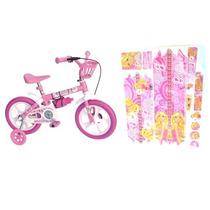 Bicicleta Infantil Aro 12 Feminina Rosa E Adesivos Da Barbie