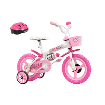 Bicicleta Kit Kat Rosa Aro 12 Feminina Com Acessórios - T...