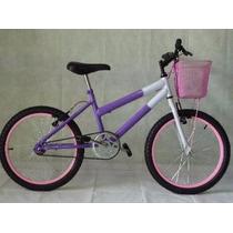 Bicicleta Aro 20 Lilás C/ Branco E Acessórios Rosa