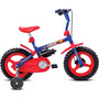Bicicleta Rock Aro 12 Azul / Vermelho Masculina Infantil