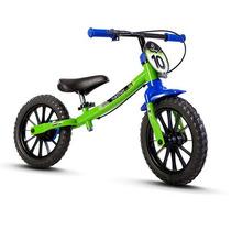 Bicicleta Aro 12 Infantil Equilibrio Nathor Sem Pedal Verde
