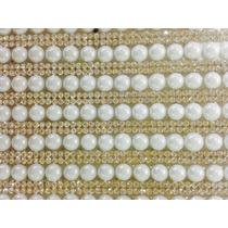 Manta De Strass Dourado Com Meia Perolas Brancas 6mm
