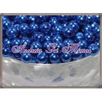 300 Pérolas 5mm Azul Em Plástico Abs C/furo