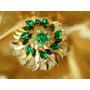 Elegante Broche Solar Vintage Cristais Verdes,itália,déc.60