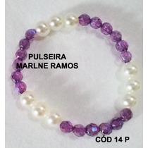 Pulseira Artesanal Tons Lilás E Pérola Cod 14 P