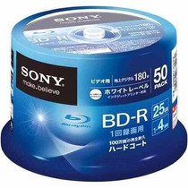 Tubo 50 Mídias Sony Bluray 25gb Printable 4x Bd-r