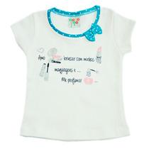 Camiseta Infantil Bege Amo Brincar Maquiagens - Have Fun