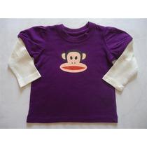 Camiseta Manga Longa Roxa Creme Macaco Small Paul 12 Meses