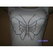 Bs001 - Blusa Branca Regata Com Aplicação Strass Borboleta