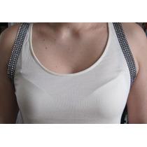 Blusa Top Malha Creme Com Aplicação Strass Nas Cavas -bl331