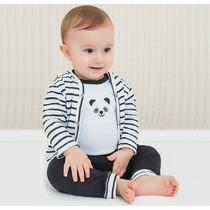 Kit 3 Peças Com Body, Calça E Casaco - Panda Pingo Lelê