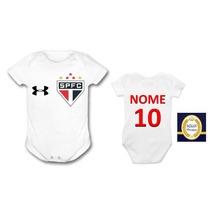 Body São Paulo Time Futebol Personalizado Bebê Infantil