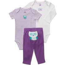 Kit Bodys E Calça 3 Peças Bebê Infantil Importado - Carters
