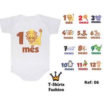 Kit 12 Body Personalizado Bichos - Safari - Bebê Mês A Mês