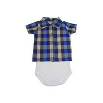 Body Menino Regata Com Camisa Xadrez, Roupas Para Bebês