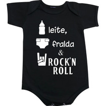 Body Camiseta Leite Fralda E Rock And Roll + 500 Estampas