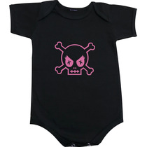 Body Ou Camiseta Infantil Caveira Feminina - Rock And Roll