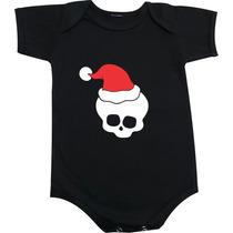 Body Ou Camiseta Infantil Caveira Com Gorro De Papai Noel