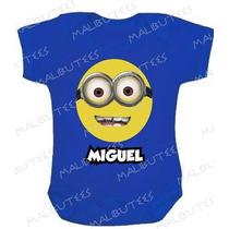 Minions Com Nome Body Infantil Azul Baby Super Herois
