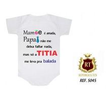 Body Infantil Personalizado Bebê Divertidos Dinda Titia Rock
