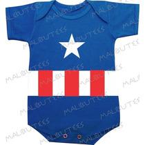 Body Infantil Azul Capitão América Bebê Batman Personagem