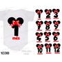 Body Minnie Com Laço Vermelho Mesversario Kit Com 12