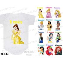Kit 12 Body Mesversario Princessas Disney Personalize Nome
