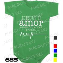 Body Evangélico Gospel Deus É Amor Infantil Bebê