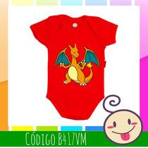 Body Charizard Pokémon Bebê Criança Legal Roupinha Barata