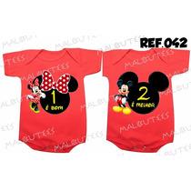 Body Gemeos Mickey Minnie Bebe Kit Com 2 Bodies Frete Gratis