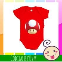 Body Cogumelo Vermelho Mario Bros Bebê Criança Legal Barata