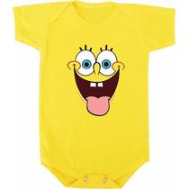 Body De Bebê Ou Camiseta Infantil Bob Esponja Lingua De Fora
