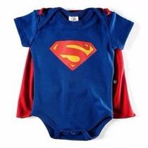 Body Super Homem Com Capa Fantasia Bebê Super Heroi Superman