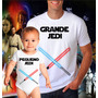 Kit Camiseta E Body Pai E Filho Star Wars Jedi Geek Nerd