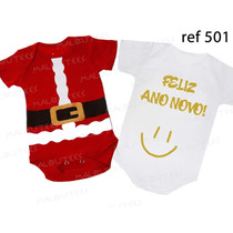 Body Natal Ano Novo Bebê Papai Noel Kit Com 2 Frete Grátis