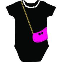 Body Infantil Personalizado Rosa Colar Bolsa Menina