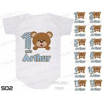 Body Ursinho Marron Azul Urso Mesversario Com Nome Kit 12 Un